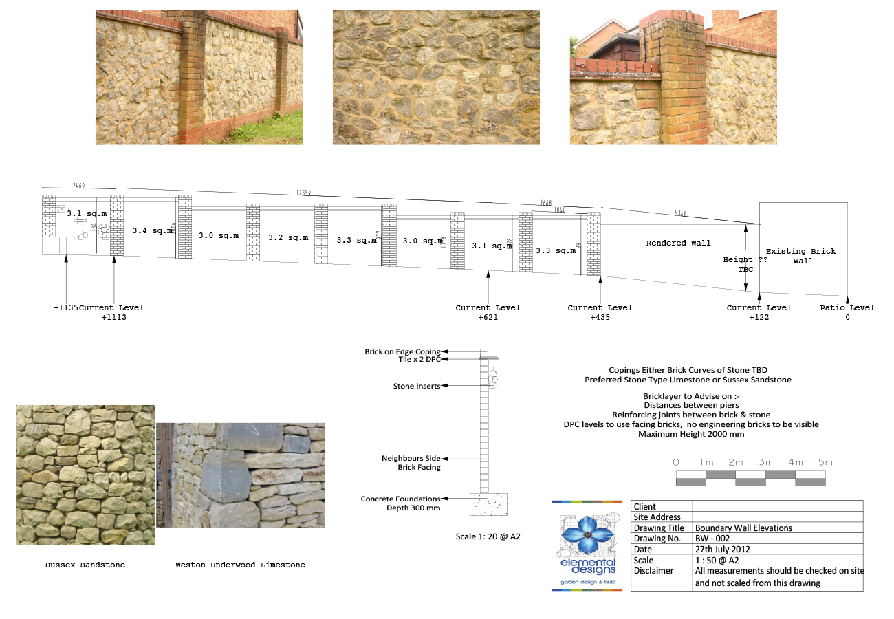 Boundary wall elemental designs for Boundary wall