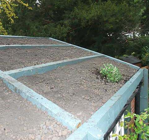 roof garden preparation and growing media surface