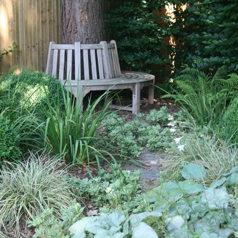 stepping stone garden path to bench surrounded by shade tolerant planting